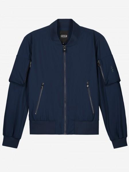 Donkerblauwe bomber jas met zilveren ritsen