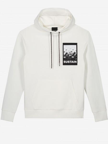 Effen hoodie met SUSTAIN artwork
