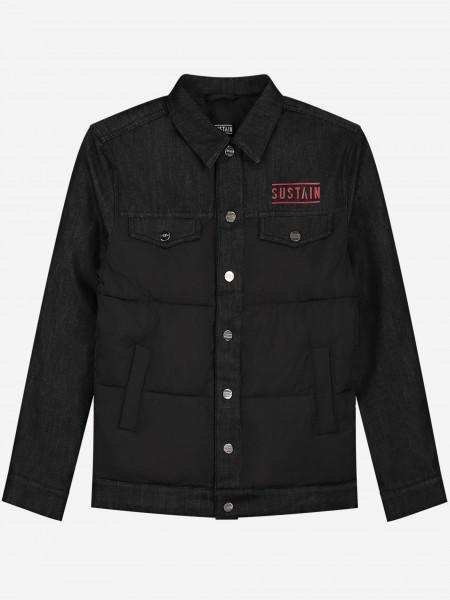 Zwarte denim jacket met rood logo