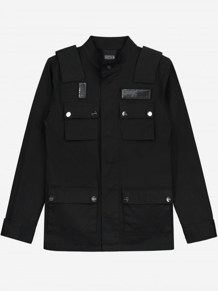 Zwarte jas met zakken en straps